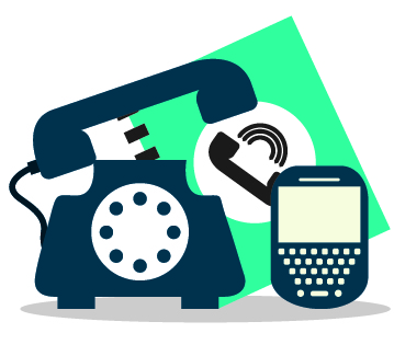 cartoon image of telephone, mobile phone and phone directory