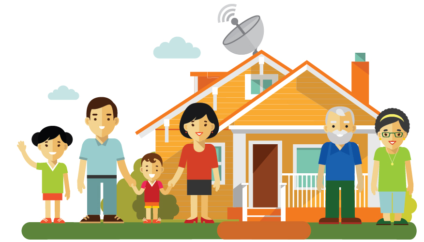 family home with father, mother, two children, and grandparents and satellite dish on roof