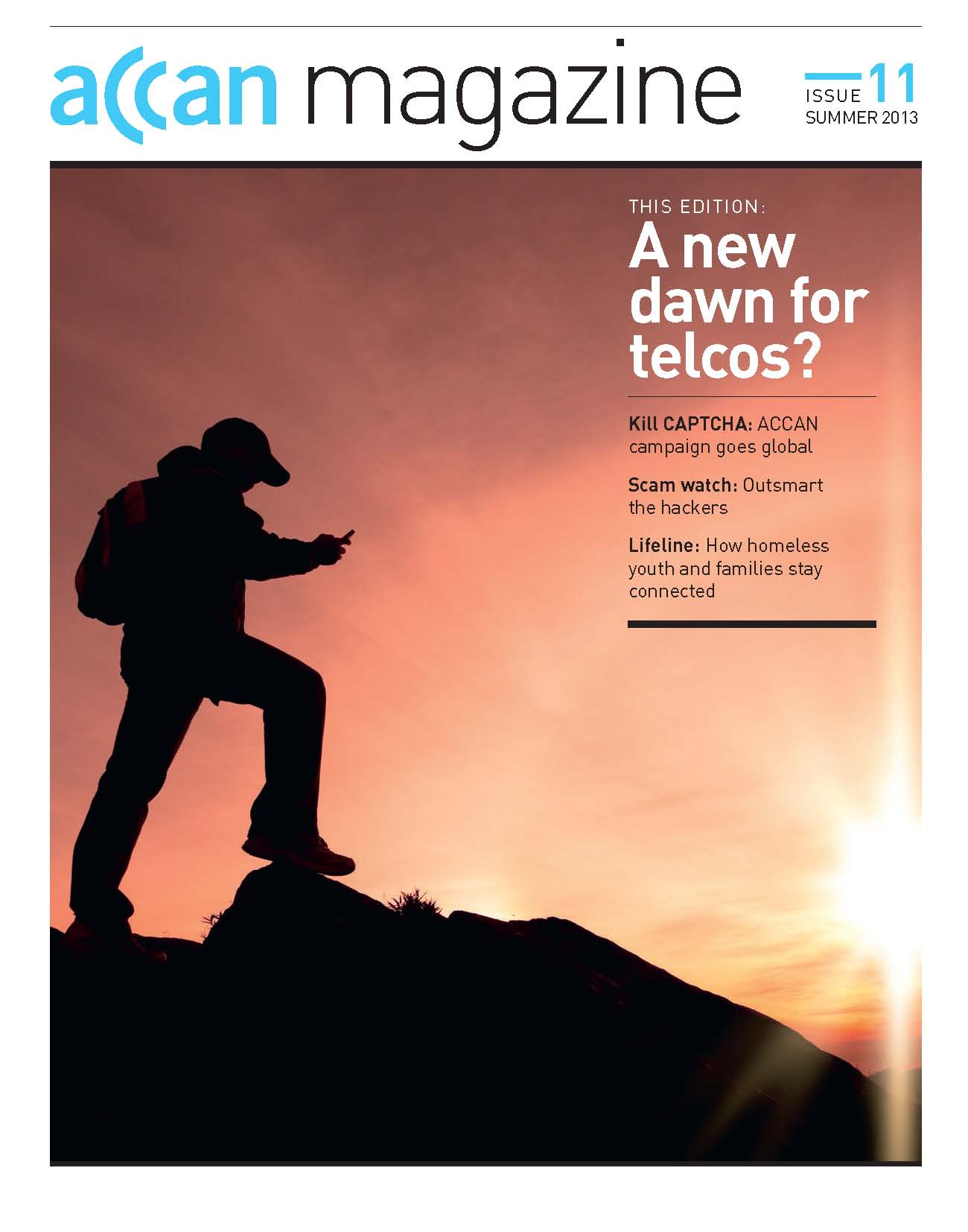 Front cover of Summer 2013 ACCAN Magazine. Picture used is silhouette of man holding mobile phone.