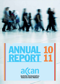 Picture of the ACCAN 2010-11 Annual Report cover.