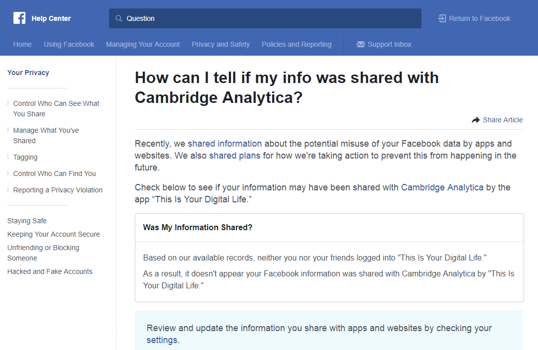 Guide on how to check Facebook settings for Cambridge Analytica