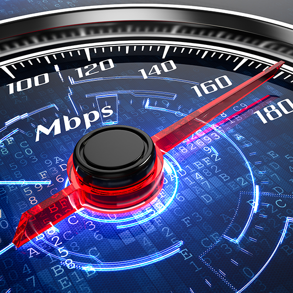 Guage showing Megabits per second