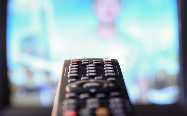 TV remote pointing at TV