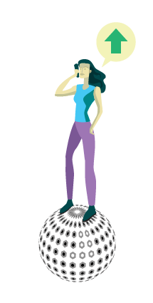 Woman standing on top of virtual world using phone.  Speech bubble shows green up arrow.