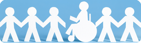 Campaign banner featuring paper doll cut-outs with one in a wheelchair