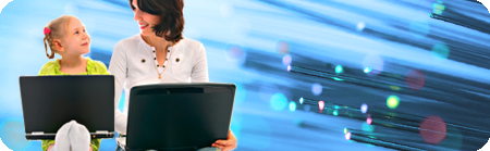 Policy position banner image featuring a mother and daughter using laptops with a background of optic fibre