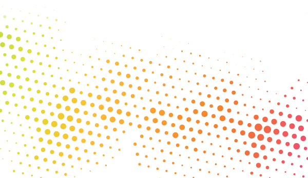 Conference footer: Shows coloured dots splashed across the page representing consumers.