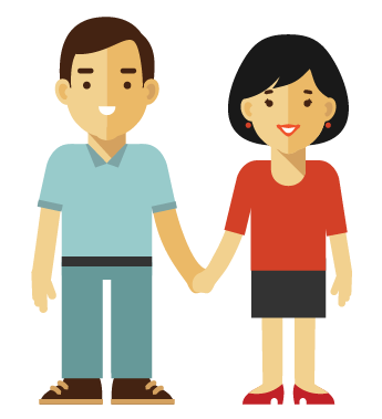 Couple holding hands highlighting an important information