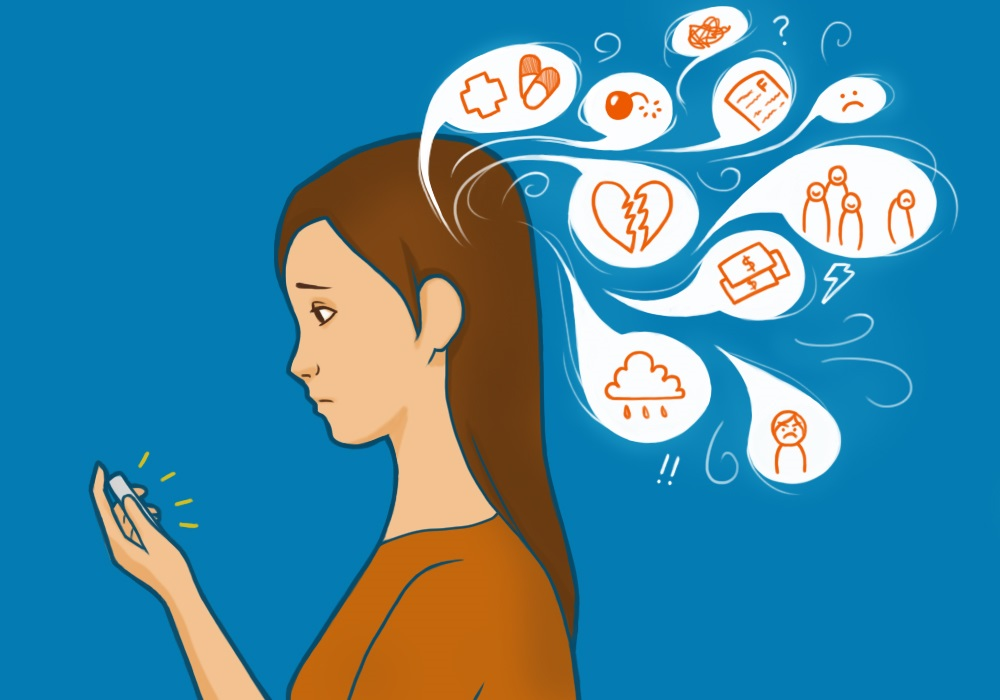 illustration of woman looking at phone with several speech bubbles depicting emotions and struggles
