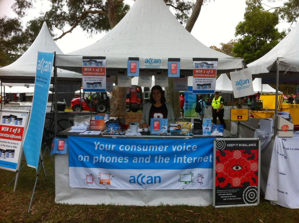 Image of the ACCAN stall at Yabun