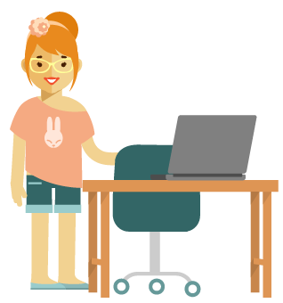 girl at home desk with laptop