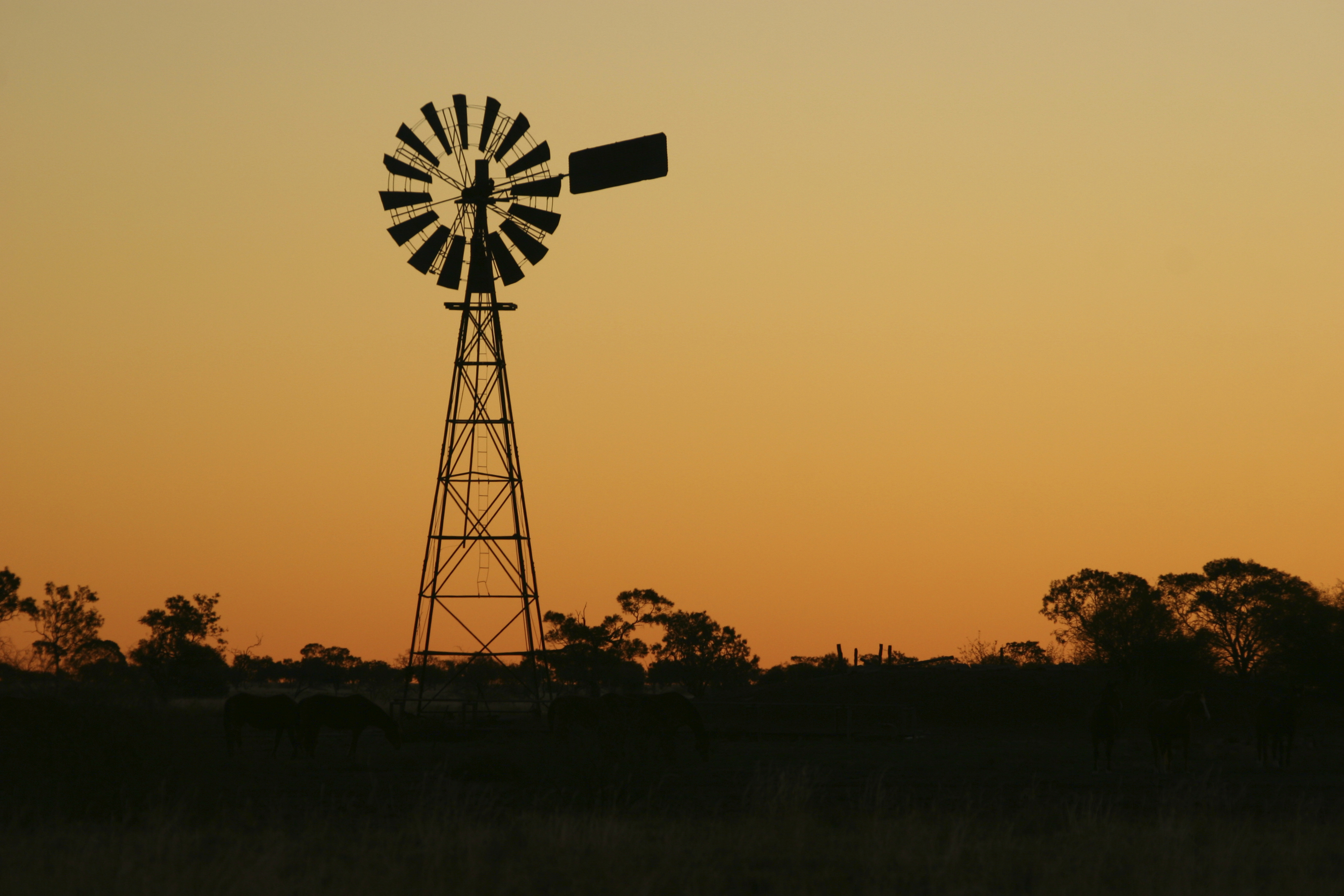 Large windmill at sunset