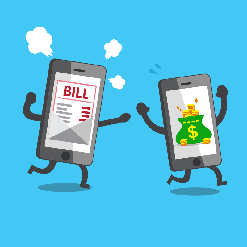 A phone showing an unexpeected bill on screen chases another phone show a bag of money.