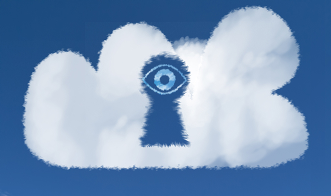 Eye peering through a keyhole in cloud