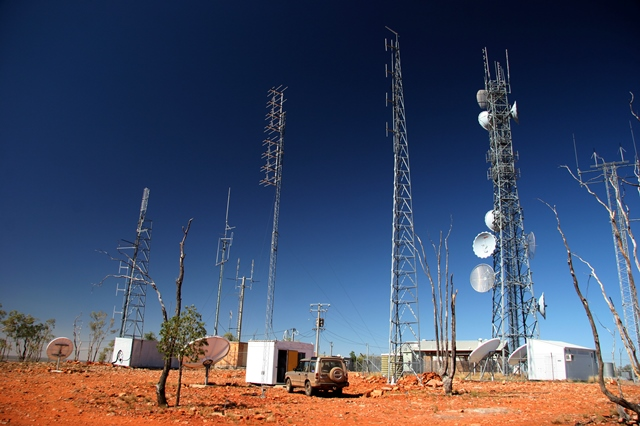 Communications towers in outback setting