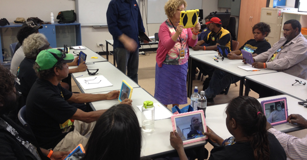 Indiginous media producers learning to use iPads for filming