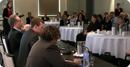 Banner image for ACCAN Events picturing ACCAN CEO and industry representatives taking part in a consultative forum.